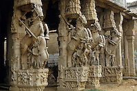 Intricate carvings of sculpted horses, Sri Ranganathaswamy Temple, Srirangam, India.