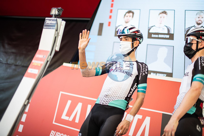 Mikel Nieve (ESP) Team BikeExchange at sign on before the start of Stage 6 of La Vuelta d'Espana 2021, running 158.3km from Requena to Alto de la Montaña Cullera, Spain. 19th August 2021.    <br /> Picture: Charly Lopez/Unipublic   Cyclefile<br /> <br /> All photos usage must carry mandatory copyright credit (© Cyclefile   Unipublic/Charly Lopez)