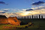 Moais of Ahu Tongariki at sunrise on Easter Island, Chile.