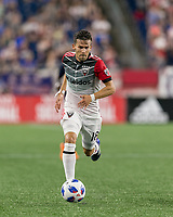 Foxborough, Massachusetts - June 30, 2018: In a Major League Soccer (MLS) match, New England Revolution (blue/white) defeated D.C. United (white/gray/red), 3-2, at Gillette Stadium.