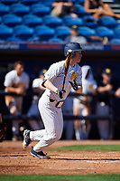 Michigan Wolverines third baseman Jimmy Kerr (15) at bat during a game against Army West Point on February 18, 2018 at Tradition Field in St. Lucie, Florida.  Michigan defeated Army 7-3.  (Mike Janes/Four Seam Images)