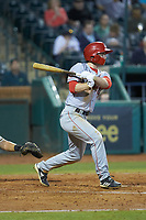 Gage Canning (7) of the Hagerstown Suns follows through on his swing against the Greensboro Grasshoppers at First National Bank Field on April 6, 2019 in Greensboro, North Carolina. The Suns defeated the Grasshoppers 6-5. (Brian Westerholt/Four Seam Images)
