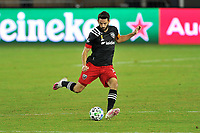 WASHINGTON, DC - SEPTEMBER 27: Steven Birnbaum #15 of D.C. United passes off the ball during a game between New England Revolution and D.C. United at Audi Field on September 27, 2020 in Washington, DC.