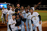 Bradenton Marauders pitching coach Fernando Nieve (top row second from left) poses with pitchers Eddy Yean (30), Adrian Florencio (45), Oliver Mateo (43), Wandi Montout (24), Christian Charle (22), Carlos Campos (31), Luis Ortiz (41), and Sergio Umana (15) after clinching Game Three of the Low-A Southeast Championship Series with a sweep of the Tampa Tarpons on September 24, 2021 at George M. Steinbrenner Field in Tampa, Florida.  (Mike Janes/Four Seam Images)