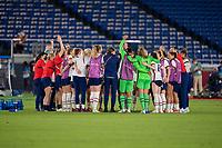 YOKOHAMA, JAPAN - JULY 30: The USWNT celebrates advancing to the semifinals after a game between Netherlands and USWNT at International Stadium Yokohama on July 30, 2021 in Yokohama, Japan.