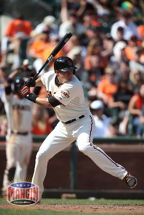 SAN FRANCISCO, CA - AUGUST 25:  Brett Pill #6 of the San Francisco Giants bats during the game against the Pittsburgh Pirates at AT&T Park on Sunday, August 25, 2013 in San Francisco, California. Photo by Brad Mangin