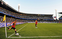 Xavi of Spain takes a corner. Spain defeated Iraq 1-0 during the FIFA Confederations Cup at Free State Stadium, in Mangaung/Bloemfontein South Africa on June 17, 2009.