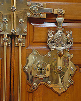The elaborate 'door furniture', or lock, on the front door of Blenheim Palace