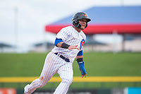 Mesa Solar Sox center fielder D.J. Wilson (1), of the Chicago Cubs organization, rounds third base during an Arizona Fall League game against the Peoria Javelinas at Sloan Park on October 11, 2018 in Mesa, Arizona. Mesa defeated Peoria 10-9. (Zachary Lucy/Four Seam Images)