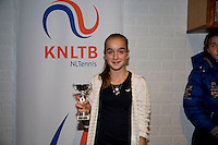 November 30, 2014, Almere, Tennis, Winter Youth Circuit, WJC,  Prizegiving, Julie Belgraver girls 14 years 7th place<br /> Photo: Henk Koster