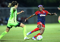 Boyds, MD - Wednesday Sept. 07, 2016: Lauren Barnes, Crystal Dunn during a regular season National Women's Soccer League (NWSL) match between the Washington Spirit and the Seattle Reign FC at Maureen Hendricks Field, Maryland SoccerPlex.