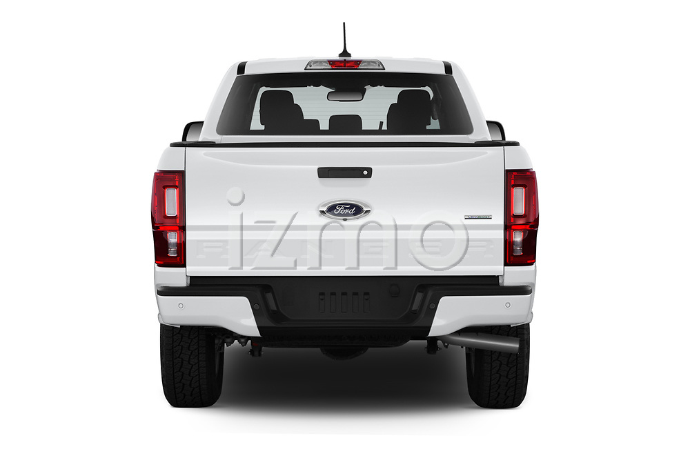 Straight rear view of a 2019 Ford Ranger XLT 4 Door Pick Up stock images