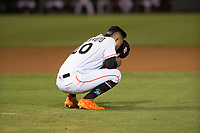 Salt River Rafters starting pitcher Jordan Yamamoto (20), of the Miami Marlins organization, takes a moment before taking the mound during an Arizona Fall League game against the Scottsdale Scorpions at Salt River Fields at Talking Stick on October 11, 2018 in Scottsdale, Arizona. Salt River defeated Scottsdale 7-6. (Zachary Lucy/Four Seam Images)