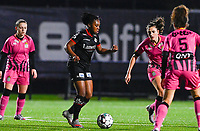 Esther Buabadi (24) of Zulte-Waregem pictured with Noemie Fourdin (11) of Sporting Charleroi during a female soccer game between Sporting Charleroi and SV Zulte-Waregem on the 12 th matchday of the 2020 - 2021 season of Belgian Scooore Womens Super League , friday 29 th of January 2021  in Marcinelle , Belgium . PHOTO SPORTPIX.BE | SPP | DAVID CATRY