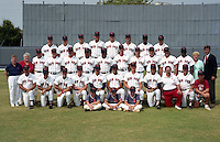 Winter Haven Red Sox 1990 team photo at Chain of Lakes Park in Winter Haven, Florida.  First Row:  Batboys Luke Chichetto, Brian Thomas, John Chichetto;  Second Row:  Coach Doug Camilli, Greg Graham, Bill Norris, Bart Moore, , Gary Villalobos, Alex Delgado, Jim Morrison, Jose Zambrano, Trainer Jim Stricek, Manager Dave Holt, Clubhouse Manager Mark Chichetto;  Third Row:  Assistant General Manager Rich White, Office Manager Pat Weigand, Ray Fagnant, Blane Fox, Tracy Allen, Garrett Jenkins, Dale Burgo, Colin Dixon, Gary Painter, Tom Kane, Pedro Matilla, Ronnie Richardson, Concession Manager Mary Brown, General Manager Bill MacKay;  Fourth Row:  Andy Rush, Tony Mosley, Bruce Chick, Pete Hoy, Michael Thompson, Steve Michael, Boo Moore, Ed Riley.  (MJA/Four Seam Images)