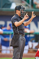 Umpire Rene Gallegos handles the calls behind the plate during a game between the Ogden Raptors and the Great Falls Voyagers at Lindquist Field on August 22, 2018 in Ogden, Utah. Great Falls defeated Ogden 3-1. (Stephen Smith/Four Seam Images)