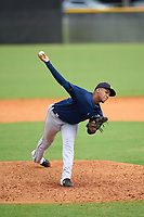FCL Tigers East pitcher Jesus Cruz (8) during a game against the FCL Yankees on July 27, 2021 at the Yankees Minor League Complex in Tampa, Florida. (Mike Janes/Four Seam Images)