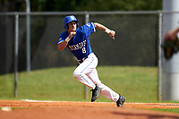 Indiana State Sycamores Dominic Cusumano (8) running the bases during a game against the Chicago State Cougars on February 23, 2020 at North Charlotte Regional Park in Port Charlotte, Florida.  Chicago State defeated Indiana State 3-0.  (Mike Janes/Four Seam Images)