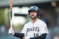 Trey Michalczewski (18) of the Charlotte Knights steps up to the plate during the game against the Scranton/Wilkes-Barre RailRiders at BB&T BallPark on August 14, 2019 in Charlotte, North Carolina. The Knights defeated the RailRiders 13-12 in ten innings. (Brian Westerholt/Four Seam Images)
