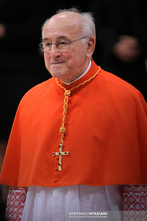 New cardinal Walter Brandmüller, who is one of the 24 new cardinals installed by Pope Benedict XVI (not pictured) during the Consistory ceremony in Saint Peter's Basilica at the Vatican, 20 November 2010. Reports state that Pope Benedict XVI installed 24 new Roman Catholic cardinals from around the world on 20 November 2010 in his latest batch of appointments that could include his successor as leader of the 1.2 billion member church. .