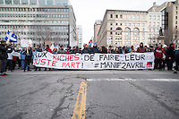 Montreal,CANADA, April 2, 1015.<br /> <br /> Thousands of people including unions and students protested the Quebec government's austerity measures in Montreal Thursday april 2nd.<br /> <br /> <br /> PHOTO : Philippe Manh Nguyen - Quebec Presse