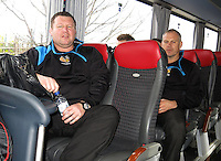 Photo: Richard Lane/Richard Lane Photography. Wasps rugby team and supporters travel to Toulon for the RC Toulon v Wasps.  European Rugby Champions Cup Quarter Final. 04/04/2015. Wasps coaches, Dai Young, Brad Davis.