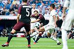 Real Madrid Raphael Varane and A.C. Milan Gonzalo Higuain during Santiago Bernabeu Trophy match at Santiago Bernabeu Stadium in Madrid, Spain. August 11, 2018. (ALTERPHOTOS/Borja B.Hojas)