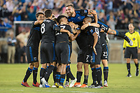 STANFORD, CA - JUNE 29: Tommy Thompson #22 celebrates during a Major League Soccer (MLS) match between the San Jose Earthquakes and the LA Galaxy on June 29, 2019 at Stanford Stadium in Stanford, California.