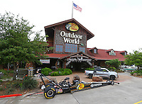 Apr 23, 2015; Pearland, TX, USA; The car of NHRA top fuel driver Shawn Langdon on display during a sponsorship announcement with Bass Pro Shops at the Pearland, TX store. Mandatory Credit: Mark J. Rebilas-