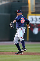 Gwinnett Braves shortstop Diory Hernandez #24 throws to first during a game against the Rochester Red Wings at Frontier Field on May 5, 2011 in Rochester, New York.  Rochester defeated Gwinnett by the score of 3-2.  Photo By Mike Janes/Four Seam Images