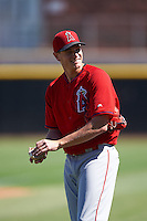 Los Angeles Angels pitcher Garrett Richards (43) takes the field during an Instructional League game against the San Francisco Giants on October 13, 2016 at Tempe Diablo Stadium Complex in Tempe, Arizona.  Richards went four innings in his final of three rehab games after an elbow injury where he opted for stem-cell therapy instead of Tommy John surgery.  (Mike Janes/Four Seam Images)