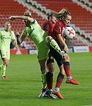Ella Toone of Manchester United Women and Ellie Gilliatt of Sheffield Utd Women in goalmouth