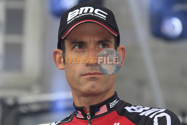 George Hincapie (USA) BMC Racing Team on stage at the Team Presentation Ceremony before the 2012 Tour de France in front of The Palais Provincial, Place Saint-Lambert, Liege, Belgium. 28th June 2012.<br /> (Photo by Eoin Clarke/NEWSFILE)