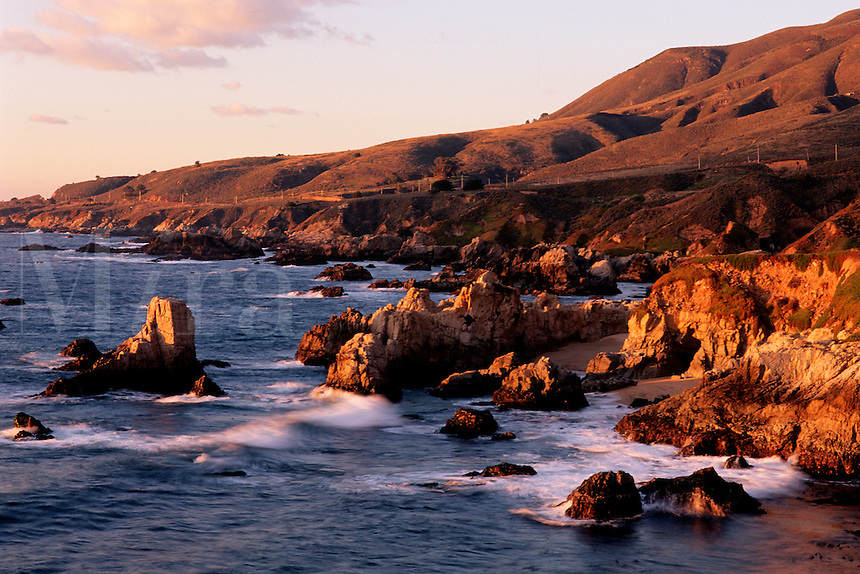 The Big Sur coastline of California is known for its rugged, scenic landscapes . Here the rocky coastline of Garrapata State Park meet the Pacific ocean, Monterey County, California