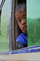 Young Boy in local Bus Dahsa Kali,Nepal, Kathmandu
