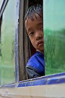 Young Boy in local Bus Dahsa Kali,Nepal, Kathmandu