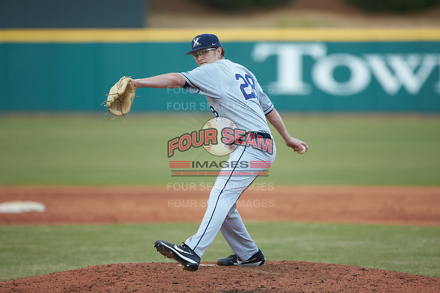 Xavier Musketeers relief pitcher Matt Kent (28) in action against the Penn State Nittany Lions at Coleman Field at the USA Baseball National Training Center on February 25, 2017 in Cary, North Carolina. The Musketeers defeated the Nittany Lions 7-5 in game two of a double header. (Brian Westerholt/Four Seam Images)