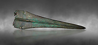 Cycladic bronze dagger.  Early Cycladic II (2800-2300 BC) , Phylakopi, Melos. National Archaeological Museum Athens. Cat no 9337.   Gray background.