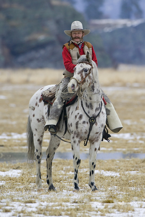 Cowboy on his horse standing in a field of melting snow
