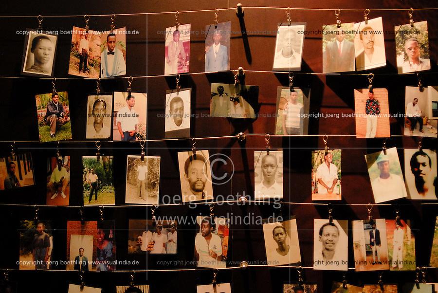Rwanda Kigali Genocide memorial , during the genocide in april 1994 nearly 1 Billion Tutsi were massacred by Hutu murder, photos of victims / Ruanda Kigali , Genozid Gedaenkstaette, Ausstellung und Mahnmal fuer die Opfer des Genozid  , waehrend des Voelkermord wurden ca. 1 Million Tutsi im April 1994 von Hutu Milizen erschlagen , Fotos von ermordeten Tutsi