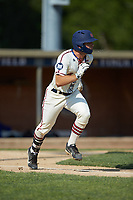 Michael Turconi (4) (Wake Forest) of the High Point-Thomasville HiToms hustles down the first base line against the Statesville Owls at Finch Field on July 19, 2020 in Thomasville, NC. The HiToms defeated the Owls 21-0. (Brian Westerholt/Four Seam Images)