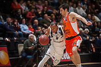 VALENCIA, SPAIN - JANUARY 6: Will Hatcher and Guillem Vives during EUROCUP match between Valencia Basket and PAOK Thessaloniki at Fonteta Stadium on January 6, 2015 in Valencia, Spain