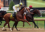 LOUISVILLE, KY - OCT 01:  Noble Bird (#6 , jockey Julien Leparoux) and Bradester (rail, jockey Corey J. Lanerie) duel at the beginning of the 4th running of the Lukas Classic at Churchill Downs, Louisville, KY. Owner John C. Oxley, trainer Mark Casse. <br />  (Photo by Mary M. Meek/Eclipse Sportswire/Getty Images)