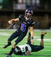Bladen Fike (5) of Fayetteville keeps the ball on quarterback keeper against Little Rock Central at Harmon Stadium, Fayetteville, Arkansas on Friday, November 13, 2020 / Special to NWA Democrat-Gazette/ David Beach