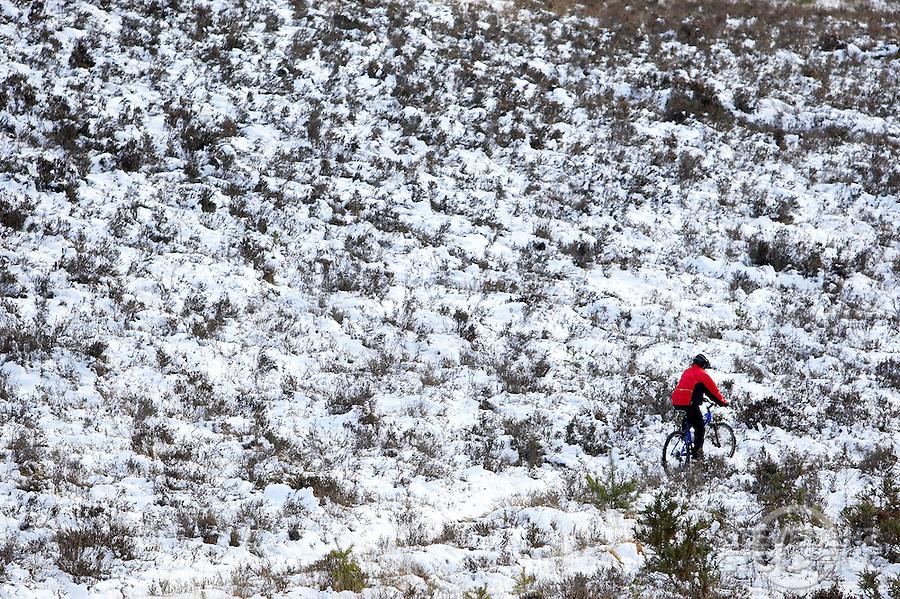 Sam Behr riding Kona Nunu mountain bike..in the snow on Chobham Common , Surrey  February 2009..pic copyright Steve Behr / Stockfile