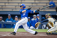 Indiana State Sycamores first baseman Hunter Lewis (20) follows through on his swing against the Michigan Wolverines on April 10, 2019 in the NCAA baseball game at Ray Fisher Stadium in Ann Arbor, Michigan. Michigan defeated Indiana State 6-4. (Andrew Woolley/Four Seam Images)