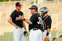 Kannapolis Intimidators manager Tommy Thompson #39 makes a pitching change during the South Atlantic League game against the Delmarva Shorebirds at Fieldcrest Cannon Stadium on May 23, 2011 in Kannapolis, North Carolina.   Photo by Brian Westerholt / Four Seam Images