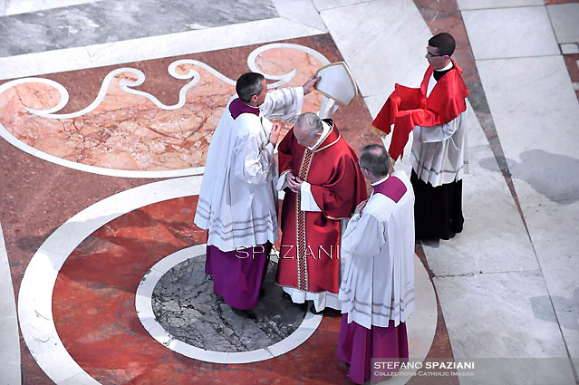 Good Friday Passion of the Lord Pope Francis in Saint Peter's Basilica.April 4, 2015