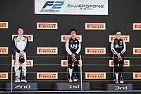 18th July 2021; Silverstone Circuit, Silverstone, Northamptonshire, England; F2 British Grand Prix, Race Day;  Zhou Guanyu (chn), UNI-Virtuosi Racing, Dallara F2 Ticktum Dan (gbr), Carlin, Dallara F2, portrait Piastri Oscar (aus), Prema Racing, Dallara F2 podium during the 4th round of the 2021 FIA Formula 2 Championship
