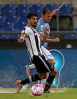 Calcio, Serie A: Lazio vs Udinese. Roma, stadio Olimpico, 13 settembre 2015.<br /> Udinese's Panagiotis Kone, left, and Lazio's Stefan Radu fight for the ball during the Italian Serie A football match between Lazio and Udinese at Rome's Olympic stadium, 13 September 2015.<br /> UPDATE IMAGES PRESS/Isabella Bonotto